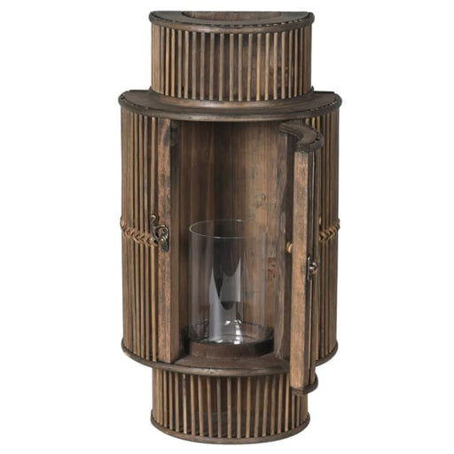 Dark Brown Bamboo Curved Wall Lantern - Decor Interiors -  House & Home