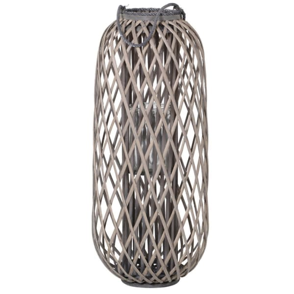 Bamboo & Rope Grey Lantern - Decor Interiors -  House & Home