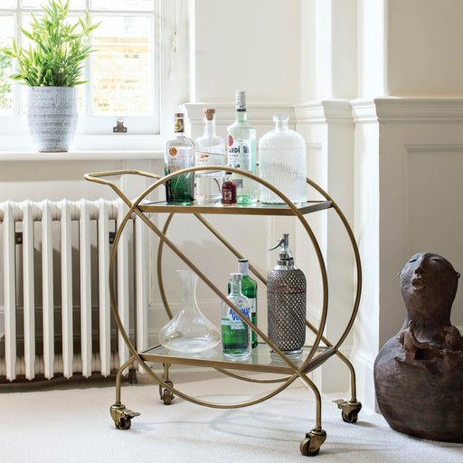 Avondale Antique Gold / Brass Metal & Glass Drinks Trolley - Decor Interiors -  House & Home