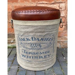 Canvas & Leather Stool -  Jack Daniels - Decor Interiors -  House & Home