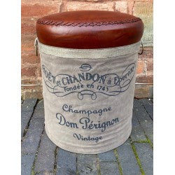 Canvas & Leather Stool -  Pom Perignon - Decor Interiors -  House & Home