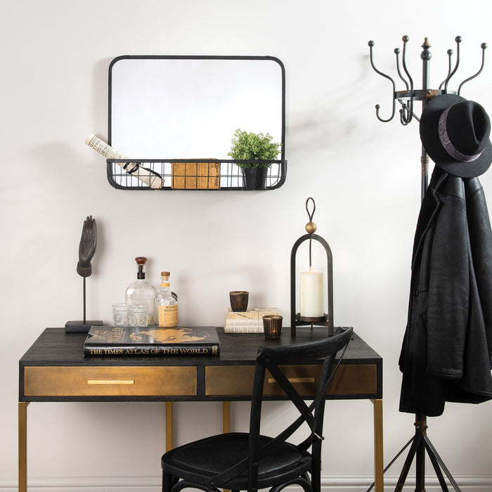 LYNFIELD IRON MIRROR WITH MESH SHELF - Decor Interiors -  House & Home