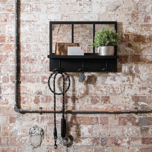 Fairfield Industrial Mirror Shelf with Hooks - Decor Interiors -  House & Home