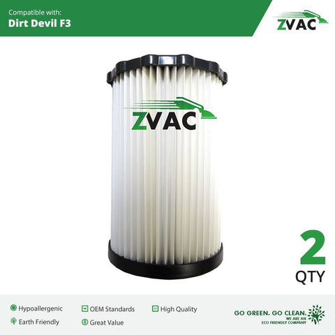 Dirt Devil F3 Washable HEPA Filters - 2 Pack - Similar to Dirt Devil F-3 Part # 3-250435-001 or 3250435001 - Made by ZVac - ZVac