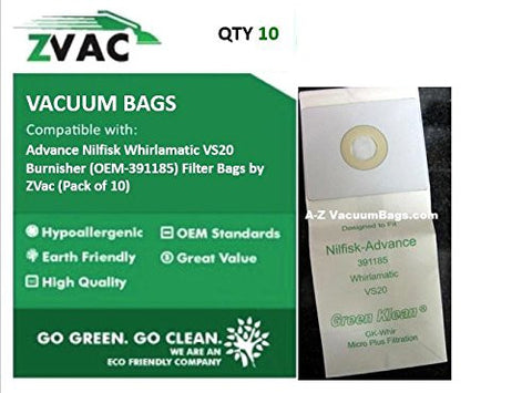 Advance Nilfisk Whirlamatic VS20 Burnisher (Fits similar to OEM-391185) Filter Bags by ZVac (Pack of 10) - ZVac