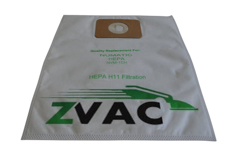 NACECARE Numatic Henry Hepa Flo filter bags for 130/180/200 models, Hepa H11 (Fits similar to OEM-NVM1CH (604015)) Filter Bags by ZVac (Pack of 10)