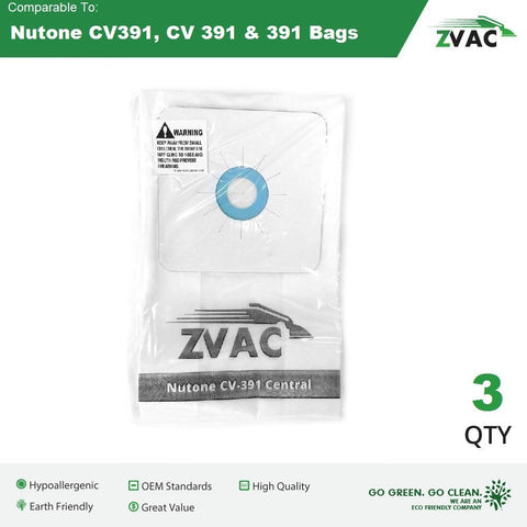 3 Pack of Nutone CV391 Vacuum Bags 3 Pack by ZVac Fits Nutone CVac Systems Using CV 391 Bags - ZVac