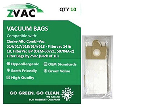 Clarke-Alto Combi-Vac, 514/517/518/614/618 - Filtervac 14 & 18, Filter Pac BP (Fits similar to OEM-50721, 50704A-2) Filter Bags by ZVac (Pack of 10) - ZVac