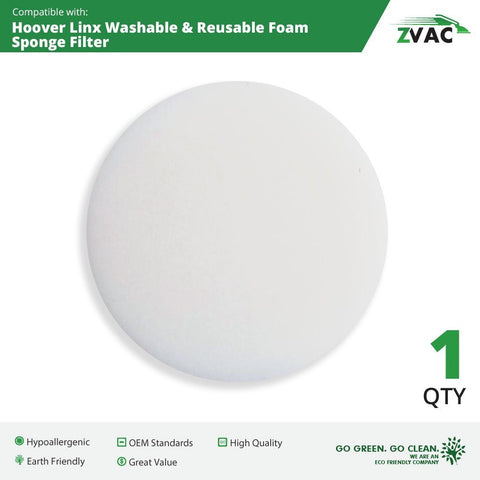 Hoover Linx Washable & Reusable Foam Sponge Filter; Replaces Hoover Platinum Linx Part # 902185003, 562161003, 410044001, BH50010, BH50015, SH20030; By ZVac (1) - ZVac