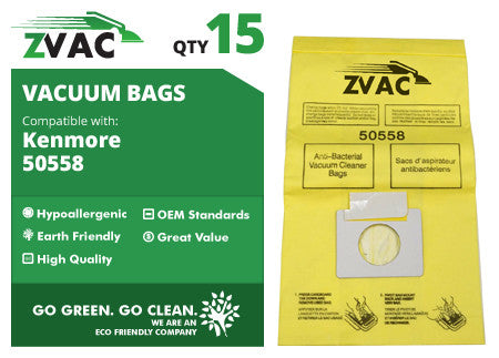 15 Microlined Kenmore Microfiltration Canister Vacuum Bags - 50558, 5055 By ZVac - ZVac