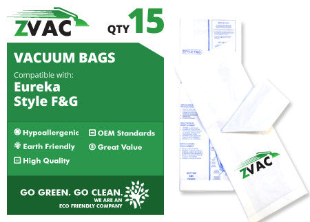 Eureka F & G Upright Vacuum Bags (15 pack) by ZVac - ZVac