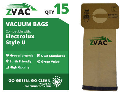 Electrolux Style U Upright Vacuum Bags (15 pack) by ZVac - ZVac