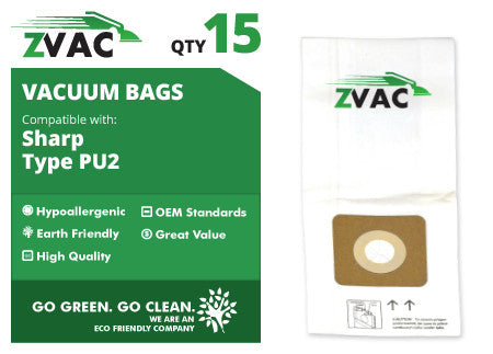 Sharp ZVac PU2 Upright Vacuum Bags (15 pack)