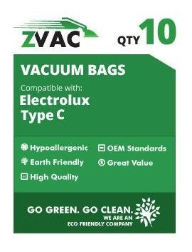 Electrolux Canister MicroFiltration Tank Style C Premium Paper Bags; Fits Electrolux Tank Style C Vacuums, Also Fits the Perfect C 101; Similar to Part # HCH-6, by ZVac (10) - ZVac