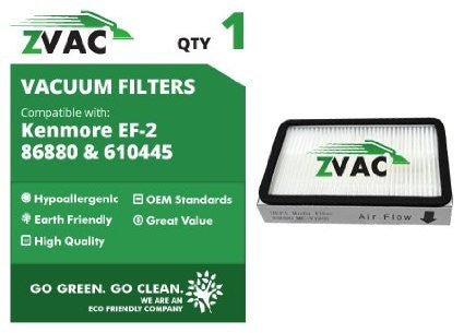 Kenmore 86880 & 610445 EF-2 Replacement HEPA Filters By ZVac