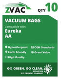 Eureka Victory and True Hepa Upright Style AA Vacuum Bags Microfiltration with Closure; Fits EUREKA 4100, 4300-4600, 5180, S4170 Series Uprights; Similar to Part# 58236A, 58236B by Zvac - ZVac