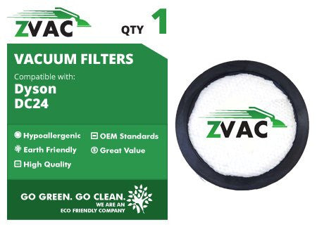 Dyson Pre Filters Fits All DC-24 / DC24 Including All-Floors, Multi-Floor, Red, Animal, Animal Ultra; Washable & Reusable Replaces Dyson Part # 913788-01 By ZVac Only From Go Vacuum - ZVac