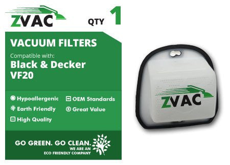 Black & Decker VF20 Filter which replaces OEM Black and Decker #'s VF-20, 49973900, and 499739-00 By ZVac Only From GoVacuum - ZVac