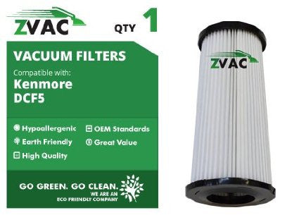 Kenmore DCF-5 Washable Dust Cup Filters Fits Quickclean K37000 By ZVac