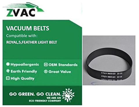 Royal Style 5 (Fit similar to OEM 1540310001) Vacuum Belts by ZVac (Pack of 2)