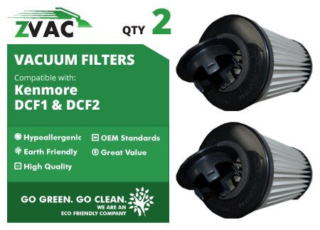 Kenmore DCF1 / DCF2 ZVac Washable HEPA 82720 Filters 2 Pack