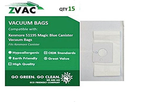 Kenmore 51195 Magic Blue Canister Vacuum Bags - 15 Bags By ZVac