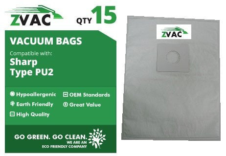 15 Sharp PU2 MicroFiltration Allergy Cloth HEPA Type Upright Vacuum Bags Made by ZVac - ZVac