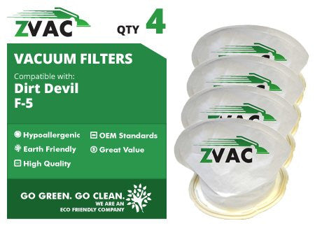 4 Dirt Devil Style F5 Scorpion Hand Vac Filter - 2 Pack - 3DEA950001 - Made by ZVac - ZVac