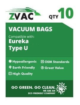 Eureka Style U MicroFiltration Premium Vacuum Bags; Similar to Part# 57802A by ZVac (10) - ZVac