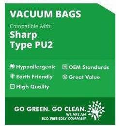 Sharp Pu-2 Allergen Cloth Hepa Bags - 9 Pack - Fits Sharp Upright Vacuums with Top Fill Bags - Similar to Part # 444820 - Made By Zvac