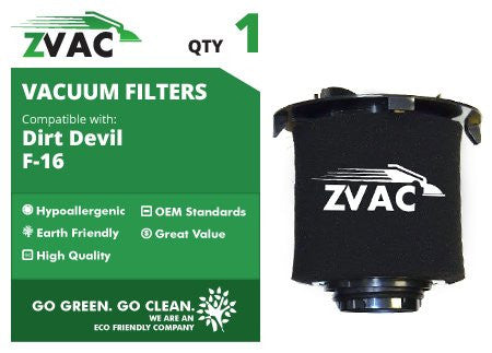 Dirt Devil Style F16 Replacement HEPA Vacuum Cleaner Filters 2JW1000000 By ZVac - ZVac