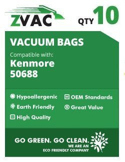 Kenmore 50688, 50690 MIcroFiltration Allergen Premium Vacuum Bags with closure; Fits Kenmore 20-5068, 20-50681, 20-50688, 20-50690, Panasonic U-2, Sanyo PU-1, Kenmore Type O, Kenmore Type U Vacuum Cleaner Bags; by ZVac (10)