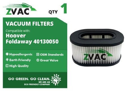 Hoover Part Number 40130050 Cartridge Filter Type 50 Fits Foldaway Model U5172-900 By ZVac - ZVac