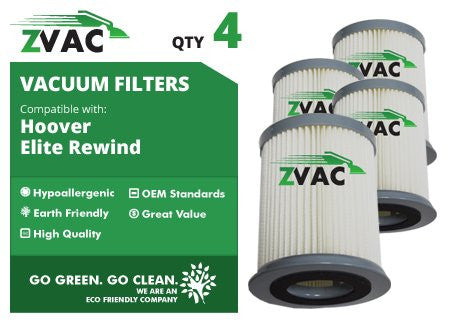 4 Pack Hoover HEPA Filters For Elite Rewind Bagless Part # 59157055 Fits U5507-900 By ZVac Only From GoVacuum - ZVac