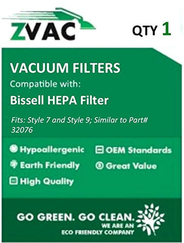 Bissell HEPA Filter, Designed to Fit Style 7 & 9 HEPA Filter Part # 32076; by Zvac (Pack of 1) - ZVac
