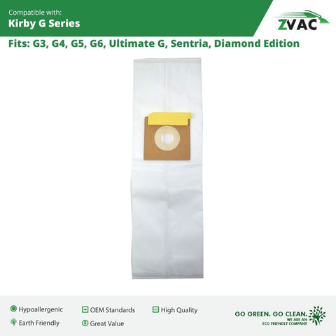 Kirby Efficiency Allergen Filtration Cloth Bags Fits All Kirby Generations, G3, G4, G5, G6, Ultimate G, Sentria, Diamond Edition by ZVac; Similar to Kirby Vacuum Part # 204803, 205803 Made by ZVac (6)