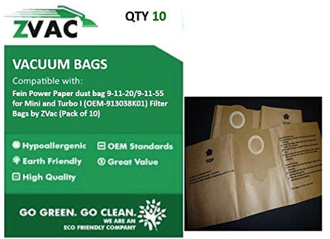 Fein Power Paper dust bag 9-11-20/9-11-55 for Mini and Turbo I (Fits similar to OEM-913038K01) Filter Bags by ZVac (Pack of 10) - ZVac