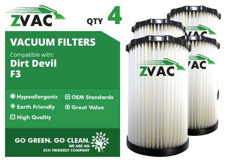 Dirt Devil F3 HEPA Filter - 4 Pack - Similar to Dirt Devil F-3 Part # 3-250435-001 or 3250435001 - Made by ZVac - ZVac
