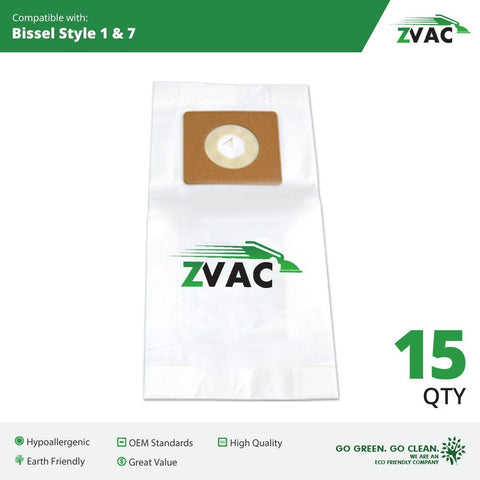 15 Bissell Style 1 + 7 Allergy Filtering Vacuum Cleaner Bags, Replaces Part # 32120 Fits PowerForce, PowerTrak, CleanView Bagless Vacuums Will Also Fit Samsung Quiet Storm and Quiet Jet Upright Vacuums By ZVac Only From GoVacuum - ZVac