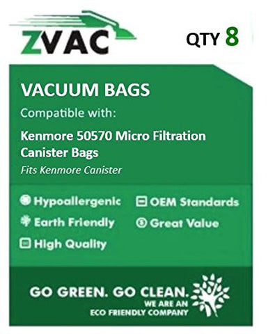 Kenmore 50570 Micro Filtration Canister Bags 8 in a pack By ZVac