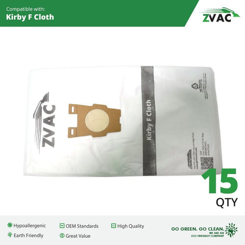 15 Kirby Style F High Efficiency HEPA Cloth Allergen Vacuum Cleaner Bags Fits Kirby Ultimate G Diamond Edition, Ultimate G Series, Gsix, Sentria® Vacuums built on 2009 and later; Similar To Part # 204808; Made By ZVac - ZVac