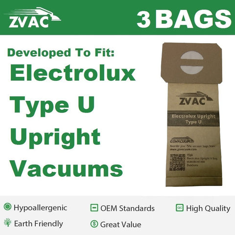 3 Electrolux U Upright Vacuum Bags by ZVac - Allergy Paper Filtered Vacuum Cleaner Bags fits Electrolux Vacs. These are Top Quality Premium Generic Vacuum Bags Made by ZVac & Replaces Type U OEM GermGrabber TM Genuine Bags by Electrolux - ZVac