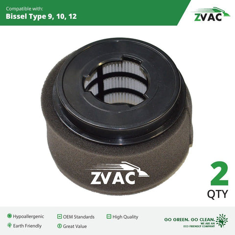 Bissell Style 9/10/12 PowerForce Inner and Outer Circular Filter Set Replaces 32064; Fits PowerForce 6579, 6595 Series - PowerForce Turbo 6596 Series - and the CleanView II 3574, 3576 Series By ZVac - ZVac