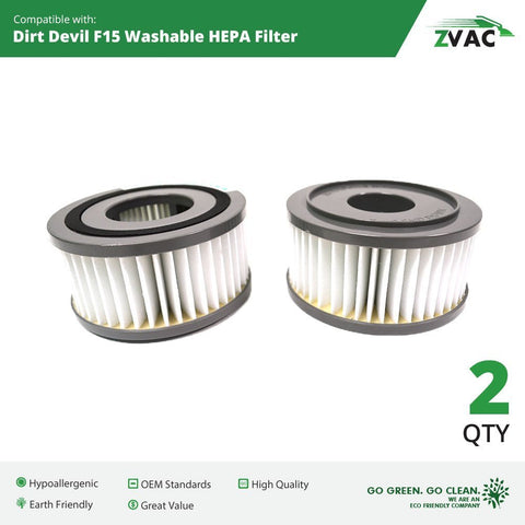 Dirt Devil F15 Washable HEPA Filter - Fits all Dirt Devil Quick Vac Models - Similar to part # 1-SS0150-000, 3-SS0150-001 or 3SS0150001 - Made by ZVac - ZVac