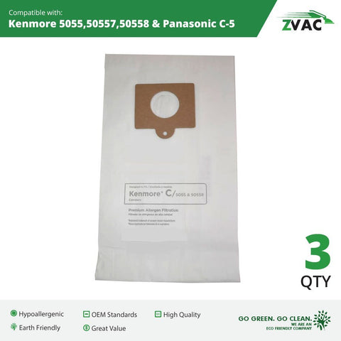 Microlined Kenmore Mircrofiltration Canister Vacuum Bags - 50558, 5055 By ZVac (3)