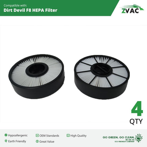 Dirt Devil F8 HEPA Filters - 4 Pack - Similar to Dirt Devil Part # 3UD0280001, 3-UD0280-001 - Made by ZVac - ZVac