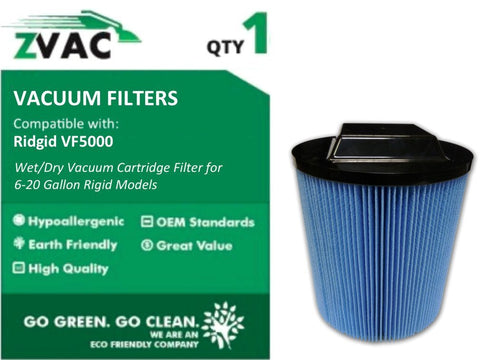 Ridgid VF5000 3 Layer High Efficiency Wet / Dry Vacuum Cartridge Filter for 6-20 Gallon Rigid Models by ZVac