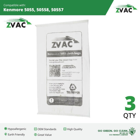 Kenmore Style C/Q Micro Filtration Canister Cloth Vacuum Bags Similar to 50558, 5055, 50557 by ZVac (Pack of 3)