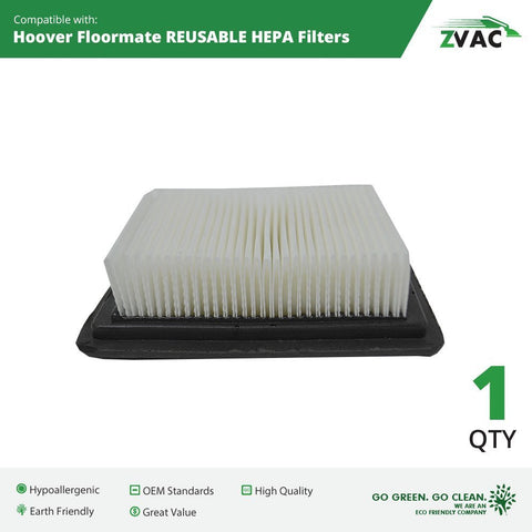 Hoover Floormate WASHABLE, REUSABLE HEPA Filters #40112050 By ZVac - ZVac