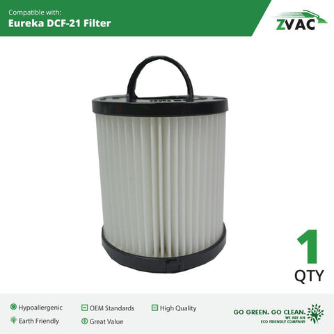 Eureka DCF-21 Filter; Long-Life WASHABLE, REUSABLE and Allergen Filtration, Similar to Eureka DCF21 Part # 67821, 68931, 68931A, EF91, EF-91, EF-91B; Made by ZVac - ZVac